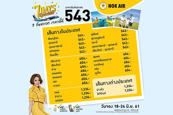 nokair  จัดโปรโมชั่น 7 วันหรรษา ราคาเริ่มต้นที่ 543 บาท เริ่มจอง 18 – 24 มิ.ย. 2561 เดินทาง 21 มิ.ย. 2561 – 30 มี.ค. 2562